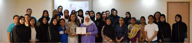 <p>A breast cancer awareness drive has been organised by Almoayyed International Group.</p> <p>It was held in association with American Mission Hospital (AMH) at its offices in Sitra and included medical check-ups.</p> <p>Above, Almoayyed International Group chairwoman Hala Almoayyed presents a memento to an AMH representative during the event.</p>