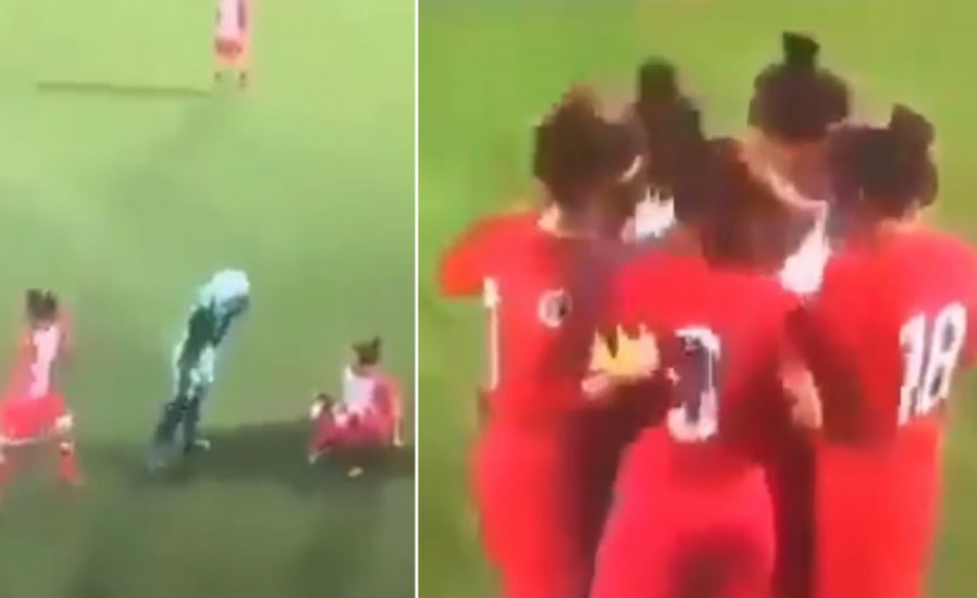 Woman footballer's hijab comes off during match, watch what happens next