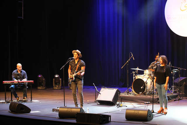 <p>Bahraini indie-folk singer and songwriter Mo Zowayed performed at the Cultural Hall last night. He took audiences on a journey through his transient experiences, which combine vocal hooks, guitar-driven melodies and soulful upbeat sounds.</p> <p>Above, Mr Zowayed performs at the Cultural Hall.</p>