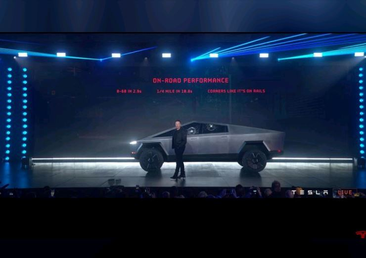 Tesla's electric pickup truck flouts convention with angular design and armored glass