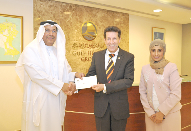 Gulf Hotels Group presented a donation to the UCO Parents Care Centre. It is part of the group's ongoing initiative to support charitable organisations that provide service to the local community and care to the elderly. Gulf Hotels Group chief executive Garfield Jones presented the cheque to the centre's general manager Rima Ahmed bin Shams and treasurer Thabet Ameen Alsherooqi. At the presentation are, from left  Mr Alsherooqi, Mr Jones and Ms Shams.
