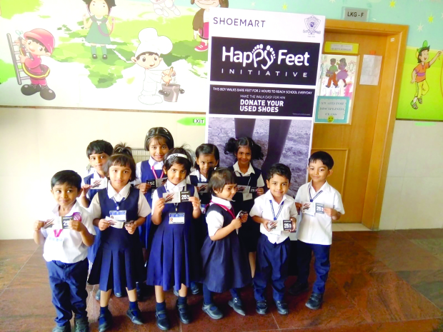 <p>More than 1,600 pairs of shoes have been collected for donation by students from the Indian School Bahrain (ISB), as part of a charity initiative organised at the Riffa Campus. The 'Happy Feet Initiative' was held in collaboration with Al Rashid Group's corporate social responsibility project and was aimed at fostering a spirit of generosity within the children to help the under-privileged. The shoes will be delivered and donated to Al Sanabel Orphan Care Society. Above, some of the pupils at the event.</p>