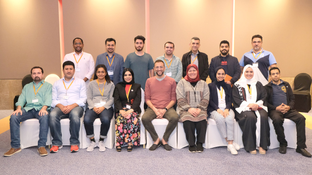 <p><em>Falak Consulting founder, chief executive and main speaker Suhail Algosaibi, seated centre, with workshop participants</em></p>