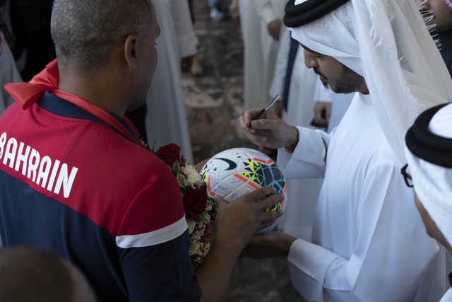 <div>They were welcomed at the airport by Supreme Council for Youth and Sport first deputy chairman and Bahrain Olympic Committee president Shaikh Khalid bin Hamad Al Khalifa.</div>