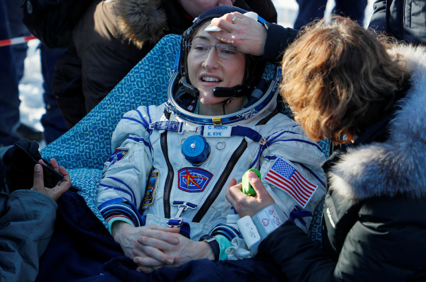 US astronaut Koch returns to Earth after record space mission