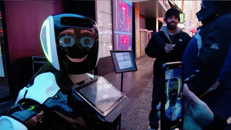 Robot with coronavirus advice hits Times Square