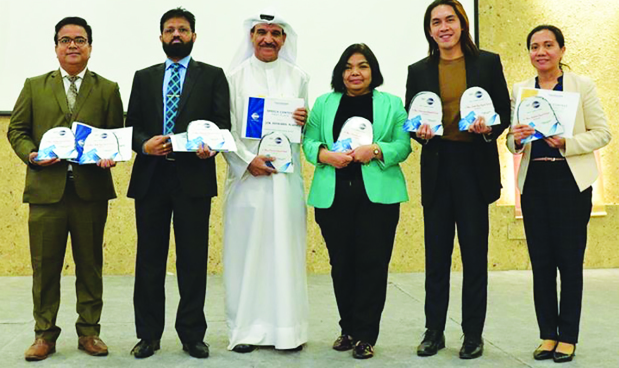 The Area 5 Toastmasters held its annual contest at Al Ayam Media Centre, Budaiya in the presence of district and area officials, guests and officials. Contestants who progressed to the division-level competition, which will be held on March 6 at the British University of Bahrain, The Atrium Mall, Saar, are: Evaluation – Roshan Lewis and Daisy Cervanties; Humorous – Abdul Nabi Al Wardi and Hari Kumar; Table Topic – Wisley Britanico Rait and Mr Lewis; International Speech – Mr Rait and Amor Dela Cruz. Above, the winners, from left, Mr Lewis, Mr Kumar, Mr Al Wardi, Ms Cruz, Mr Rait and Ms Cervanties.