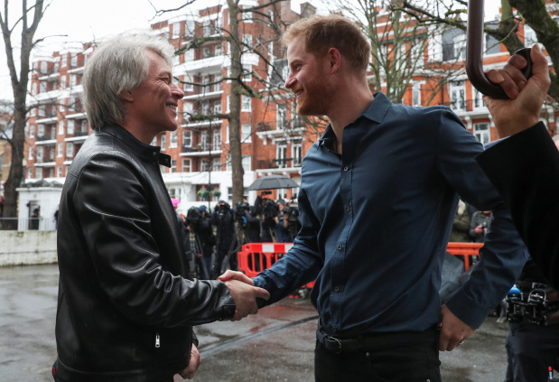 Prince Harry meets Jon Bon Jovi at Abbey Road studios