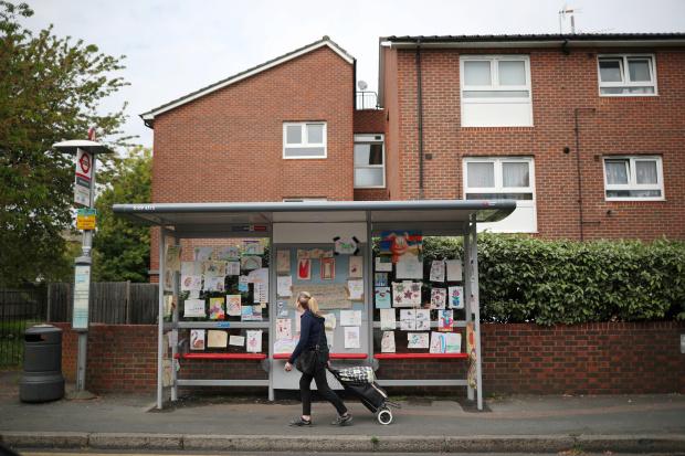 Bus-stop art gallery lifts spirits in lockdown London