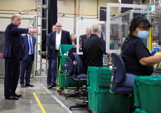 Trump tours new face-mask factory in Arizona but does not wear one