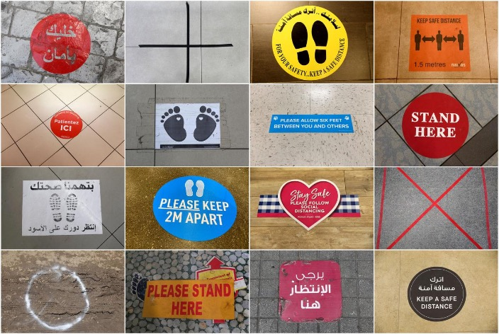 Social distancing signs around the world show the new normal