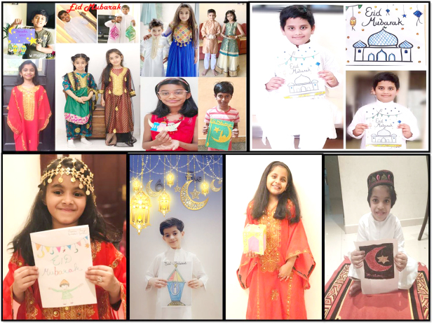 <p>Students of the Bahrain Indian School - Bhavans celebrated Eid Al Fitr via the school's online platform. The children shared their artwork while also creating art and craft decorations, greeting cards and lamps. They also shared pictures of themselves in traditional attire. Above and right, the children during the digital Eid celebration.</p>