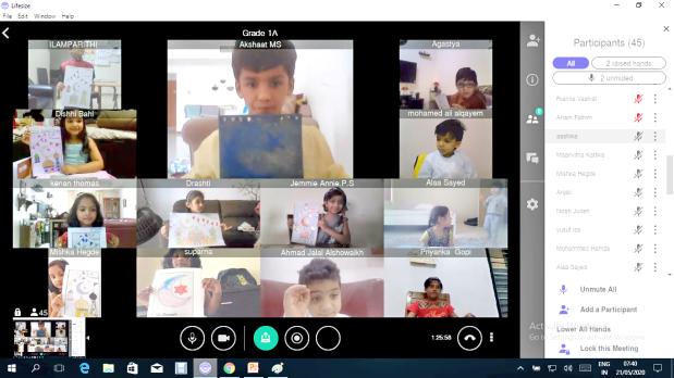<p>The children during the online Eid celebration</p>