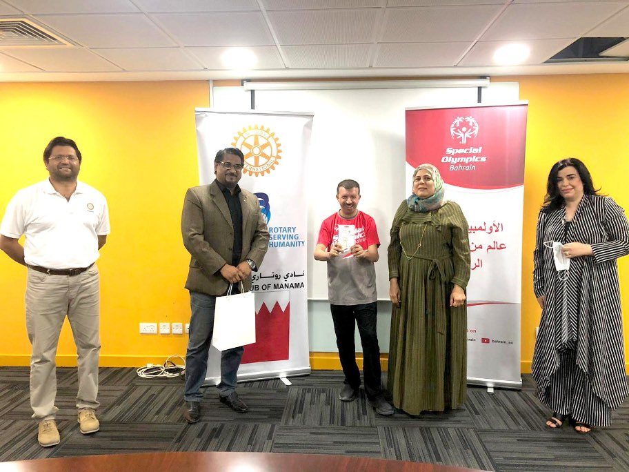 <p>Gift cards worth BD1,100 were distributed among members of Special Olympics Bahrain by the Rotary Club of Manama to mark Eid. </p><p>The presentations were made during a &nbsp;special ceremony at Special Olympics Bahrain headquarters attended by club president Khalid Mukhtar, community services head Vinod </p><p>Pais, club services head Tahira &nbsp;Rasti, Special Olympics Bahrain national director Wafika Khalil Jamal, family programme co-ordinator Leila El Sayed, junior players' programme </p><p>member Markh Shafi'I, player &nbsp;Ahmed Al Hashim and a number of club and Special Olympics Bahrain members.</p>