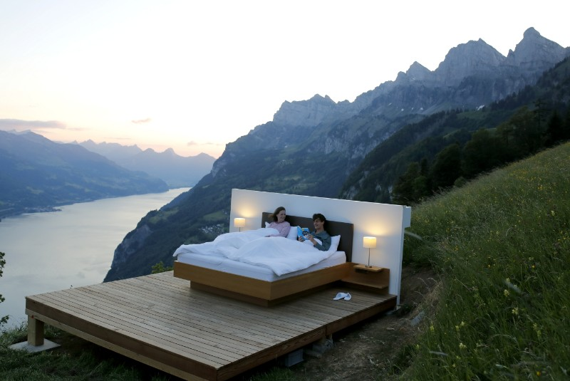 """Outdoor Swiss hotel """"rooms"""" give new meaning to light and airy"""