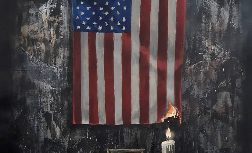 Britain's Banksy depicts US flag on fire in Floyd tribute