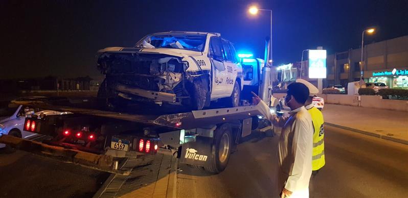 Policemen injured in highway crash