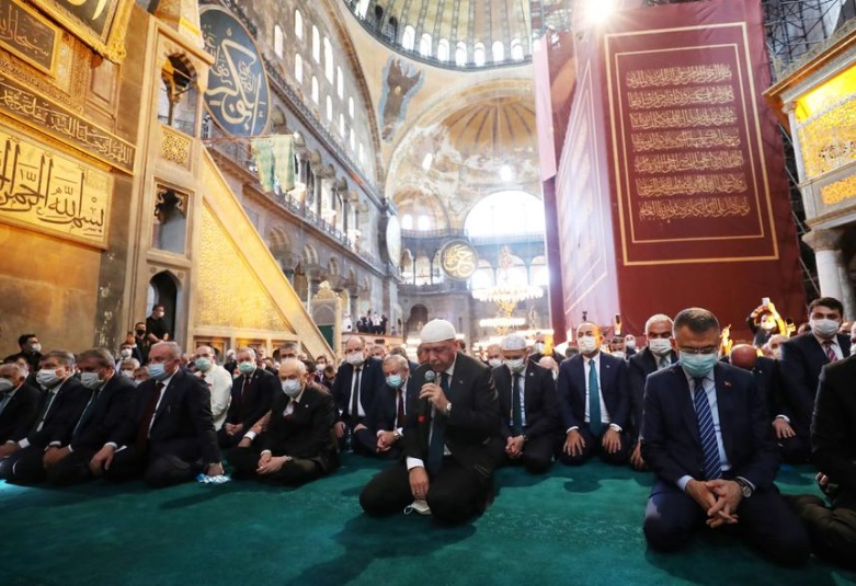 Erdogan joins thousands to pray for first time at Istanbul's Hagia Sophia
